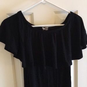 Off the shoulder black maternity dress